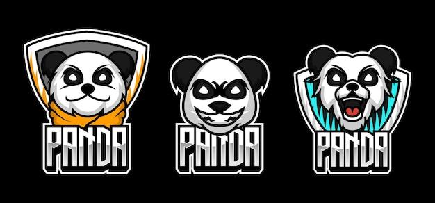 Conjunto de desenho de panda fofo e mascote de panda vermelho