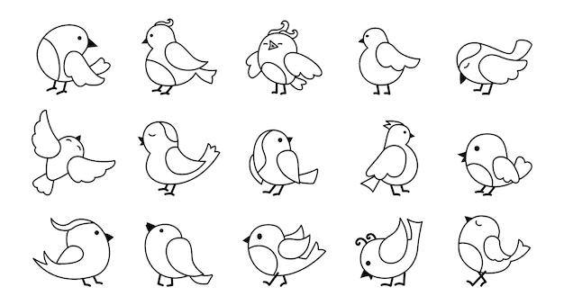 Conjunto de desenho de pássaro doodle desenhado à mão
