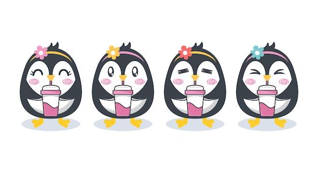Conjunto de desenho de personagem de pinguim fofo