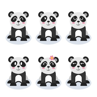Conjunto de desenho de personagem panda fofo