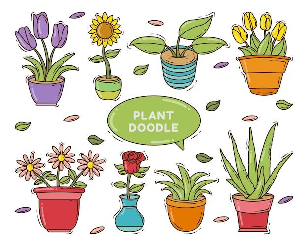 Conjunto de desenho de planta desenhada à mão