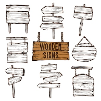 Conjunto de desenho de sinais de madeira