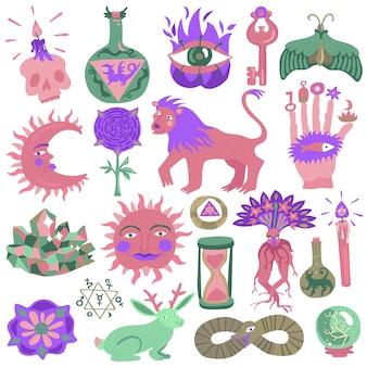 Conjunto de desenho de tatuagem colorida