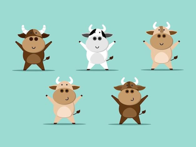 Conjunto de desenho de vaca fofo