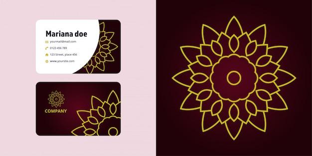 Conjunto de desenho e cartão de mandala. marca do logotipo monoline
