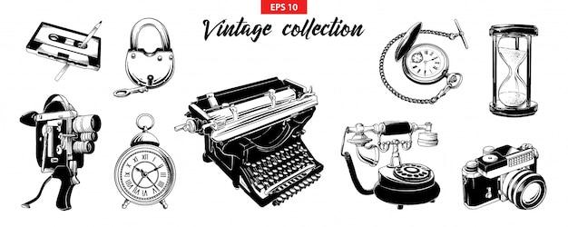 Conjunto de desenho gravado mão desenhada do vintage odjects