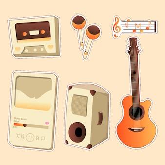 Conjunto de desenho musical de instrumento musical