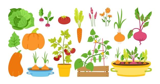 Conjunto de desenho plano de jardinagem