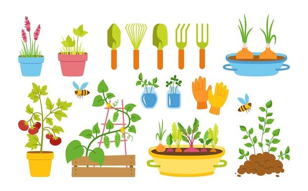 Conjunto de desenho plano de jardineiro