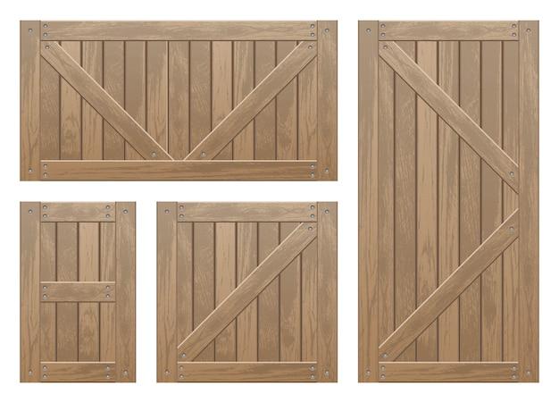 Conjunto de desenho vetorial de caixas de madeira isolado no branco