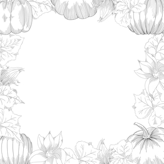 Conjunto de desenho vetorial de quadro de abóbora
