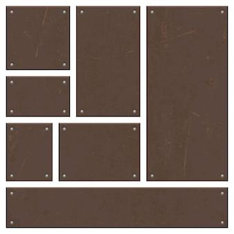 Conjunto de desenho vetorial de tábua de ferro enferrujado isolado no branco