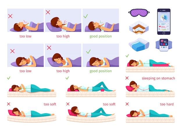 Conjunto de desenhos animados agradável a dormir