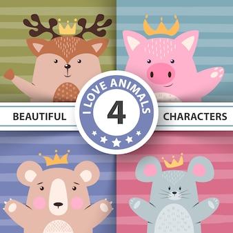 Conjunto de desenhos animados animais - veado, porco, urso, rato