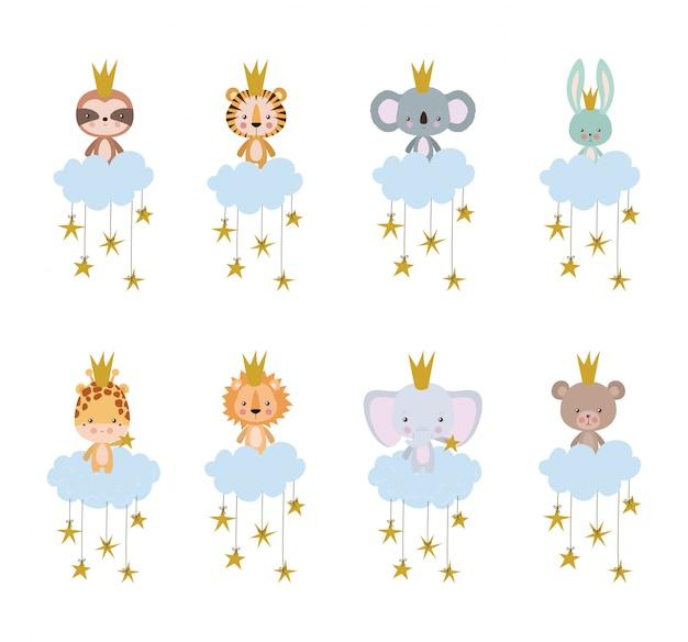 Conjunto de desenhos animados bonitos conjunto