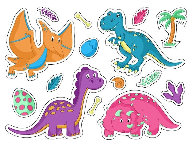 Conjunto de desenhos animados bonitos de adesivos de dinossauro. ilustração vetorial. pacote de adesivos.