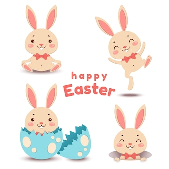 Conjunto de desenhos animados bonitos de coelhinhos da páscoa e ovo quebrado
