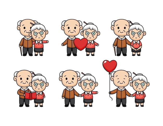 Conjunto de desenhos animados bonitos do casal mais velho no dia dos namorados