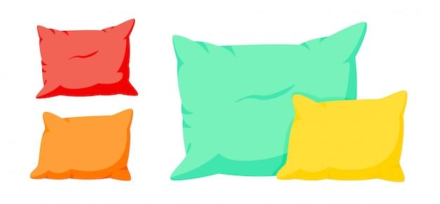 Conjunto de desenhos animados coloridos composição dois travesseiros. têxtil interior para casa. maquete de almofadas quadradas de cor suave