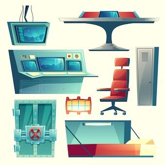 Conjunto de desenhos animados com equipamentos para abrigo subterrâneo, abrigo anti-bomba, base para sobrevivência
