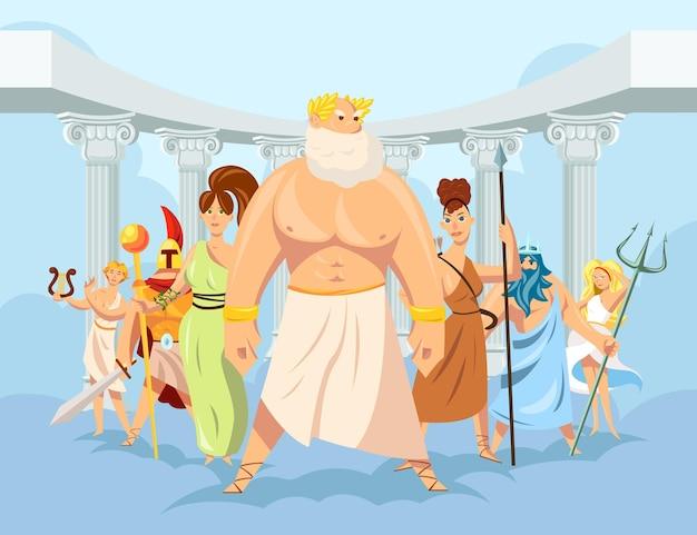 Conjunto de desenhos animados com ilustração de deuses gregos olímpicos