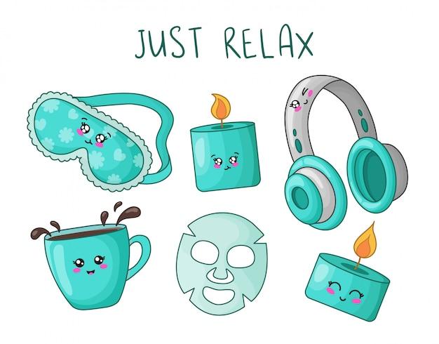 Conjunto de desenhos animados com kawaii coisas fofas para descanso e relaxamento - máscara de dormir, vela aroma, fones de ouvido