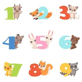 Conjunto de desenhos animados com números coloridos de 1 a 9 e animais.