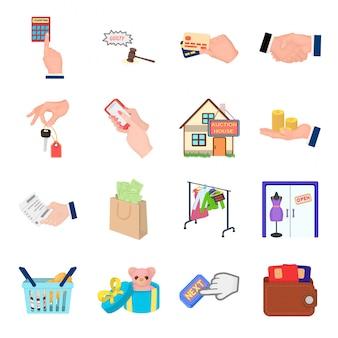 Conjunto de desenhos animados comerciais ícone. desenhos animados isolados definir negócios de ícone. comercial.