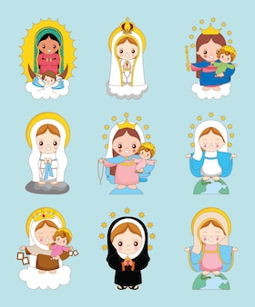 Conjunto de desenhos animados da santa maria