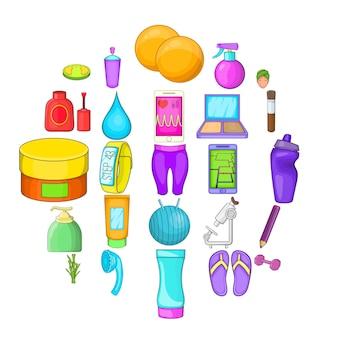 Conjunto de desenhos animados de 25 ícones de cosméticos