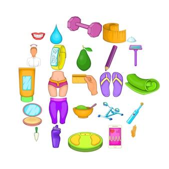 Conjunto de desenhos animados de 25 ícones de produtos de beleza