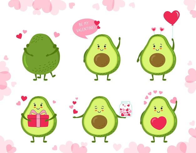 Conjunto de desenhos animados de abacate. desenhos animados engraçados de abacates verdes bonitos desenhados à mão com corações, balões, presentes e pacotes