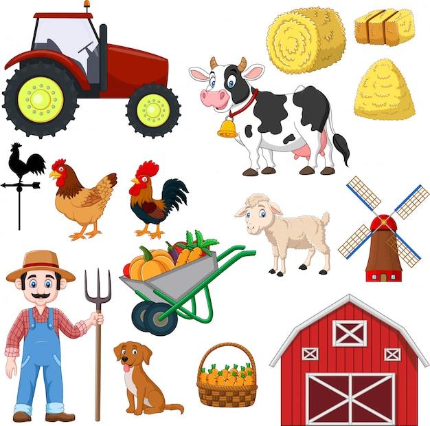 Conjunto de desenhos animados de agricultura em um branco