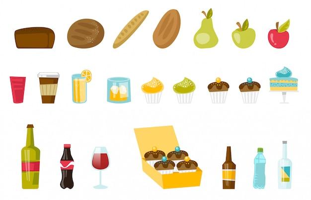 Conjunto de desenhos animados de alimentos e bebidas