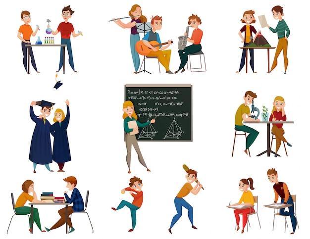 Conjunto de desenhos animados de alunos da escola