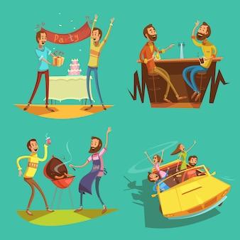 Conjunto de desenhos animados de amigos