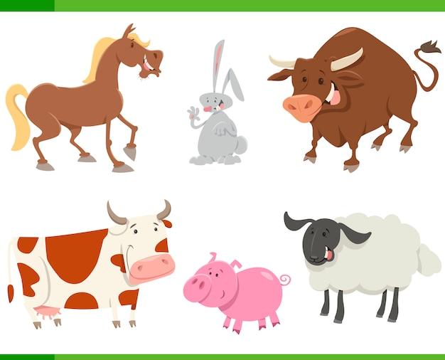 Conjunto de desenhos animados de animais de fazenda fofos