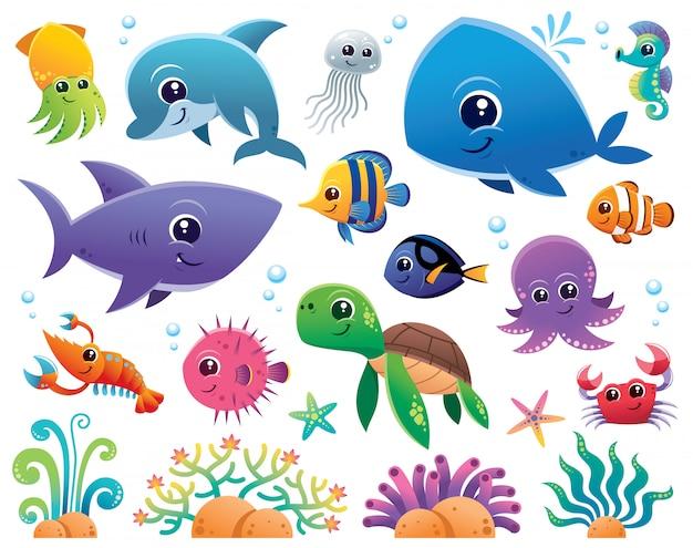 Conjunto de desenhos animados de animais do mar