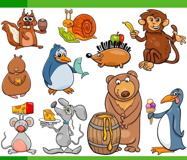 Conjunto de desenhos animados de animais e alimentos