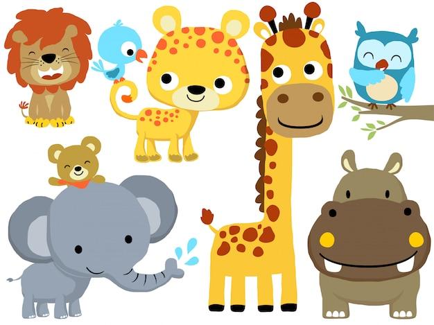 Conjunto de desenhos animados de animais engraçados