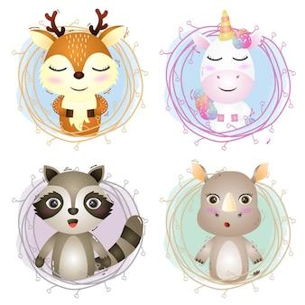 Conjunto de desenhos animados de animais fofos em galhos, o personagem de veado fofo, unicórnio, guaxinim e rinoceronte