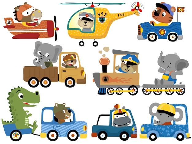 Conjunto de desenhos animados de animais fofos em veículos