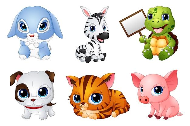 Conjunto de desenhos animados de animais fofos