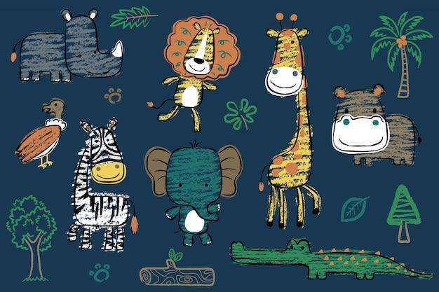 Conjunto de desenhos animados de animais safari na mão desenhada estilo