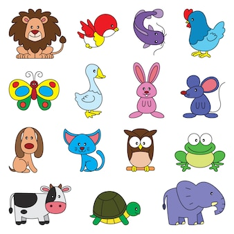 Conjunto de desenhos animados de animais simples