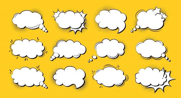 Conjunto de desenhos animados de arte pop em quadrinhos do discurso bolha, nuvem de explosão de modelo. fundo de ponto de meio-tom de elementos de design vazio retrô dos anos 80-90. discurso pensamento blobs quadrinhos banner vintage. ilustração isolada