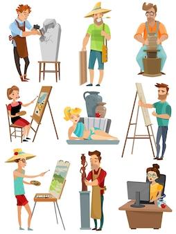Conjunto de desenhos animados de artista