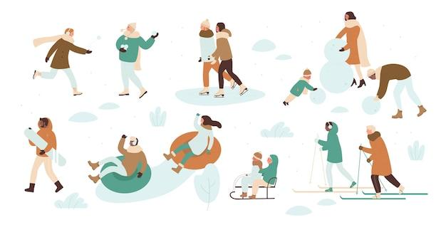 Conjunto de desenhos animados de atividades ao ar livre de inverno de pessoas no natal
