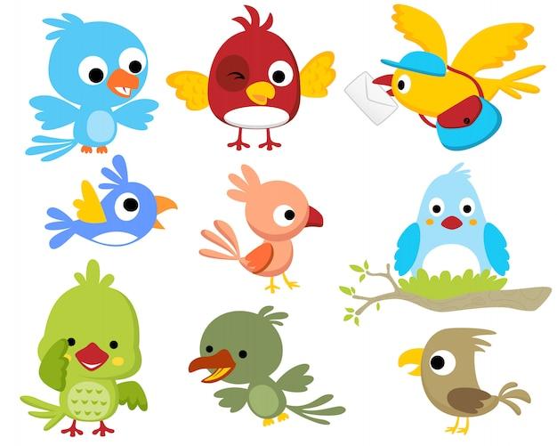 Conjunto de desenhos animados de aves