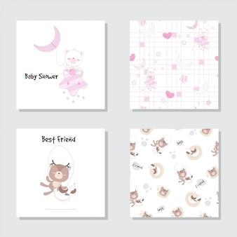 Conjunto de desenhos animados de bebê fofo urso veado conjunto padrão sem emenda